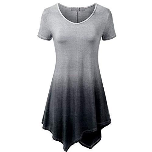 ♡Londony♡ Women's Short Sleeve O-Neck Loose Casual Tee T-Shirt Tops Long Sleeve Button Cowl Neck Tunic Sweatshirt Blouse Black