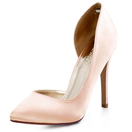 Pink Satin Shoes (ElegantPark HC1601 Women's Pointed Toe High Heel D'Orsay Pumps Satin Wedding Dress Shoes Blush US 6)