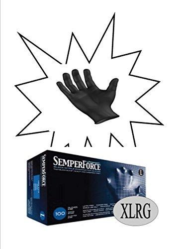 Sempermed BKNF105 SemperForce Nitrile Glove, 4 Mil, Powder-Free, X-Large, Black (Case of 1000)