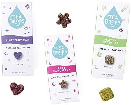 Organic Loose Leaf Tea Drops | Get Busy Trio Tea Set Includes Matcha Tea, Rose Earl Grey & Blueberry Acai | 30 Sweetened Caffeinated Drops of Instant Tea | Energy Boost | Delicious Hot or Iced
