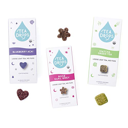 Organic Loose Leaf Tea Drops | Get Busy Trio Tea Set Includes Matcha Tea, Rose Earl Grey & Blueberry Acai | 30 Sweetened Caffeinated Drops of Instant Tea | Energy Boost | Delicious Hot or Iced ()