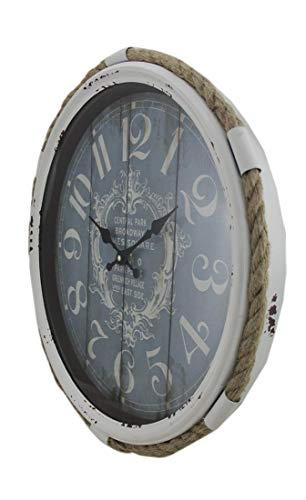 Deco 79 52558 Metal Rope Glass Wall Clock, 17