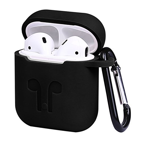 HDE Silicone Case for AirPods Protective Silicone Cover Skin for Apple AirPods Charging Case with Carabiner Keychain Belt Clip (Black)