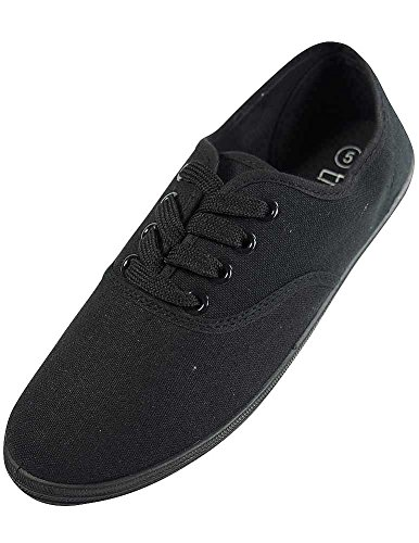 Easy USA - Womens Canvas Lace Up Shoe with Padded Insole, Black 37300-8B(M) US ()