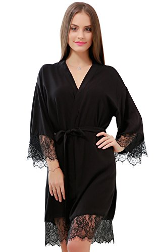GoldOath Women's Kimono Robes Cotton Lightweight Robe Long Bathrobe Soft Sleepwear V-Neck Ladies Nightwear with Lace Trim Black