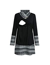 Women Mom Pregnant Nursing Baby Maternity Ethnic Style Print Tops Blouse Clothes