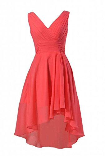 13 V Dress DaisyFormals Chiffon Low Short Dress Bridesmaid cherry Neck Formal High BM2422 qxASxwXp