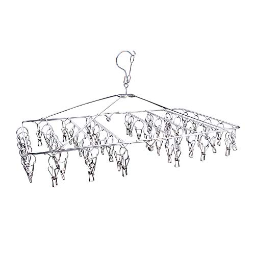 (DX DA XIN Clip and Drip Hanger -52 Clips Clothes Drying Hanger for Delicates, Jeans, Sock, Scarf, Gloves, Underwear, Bras, Cloth Diapers - with 20 Metal Clothespins and 6 Self Adhesive Hooks)