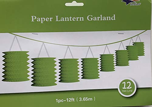 Party Decorations Paper Lantern Garland 12 Feet Long (Lime Green)