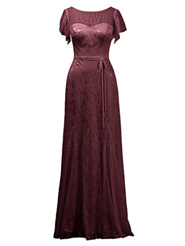 Burgundy Lace Evening Party Gown Dress Dress Long Alicepub Bridal Bateau Prom Bridesmaid wWUqT5Pf