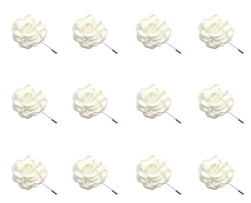 - ZAKIA 12pcs Men's Flower Lapel Pin Brooch Handmade Boutonniere for Suit Wholesale Lot (White)