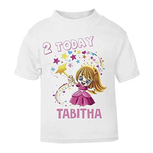 Personalised 2 Today Birthday T-shirt Princess Wizard Childrens Birthday Top Custom Girls Birthday Girls Second Birthday