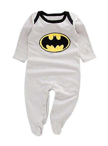 [StylesILove Super Hero Long Sleeve Baby Boy Costume Jumpsuit (12-18 Months, Batman Grey)] (Batman Outfit Baby)