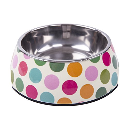 KLASKWARE Dog Bowls Stainless Steel Pet Food Bowl With Non-Skid Rubber Bottom Feeder Water Bowls for Dogs Cats and Pets (Medium, Dot)