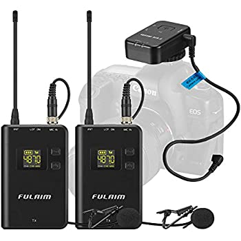 fulaim mc12 2 person wireless omni lavalier microphone system for dslr camera iphone. Black Bedroom Furniture Sets. Home Design Ideas