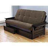Phoenix Futon in Espresso Finish with Suede Olive Mattress