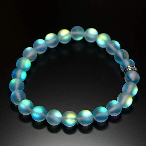 (Mermaid Glass Quartz Glowing Aura Moonstone Bracelet Matte 8mm for her women valentine birthday gift Stretch Pink Green)
