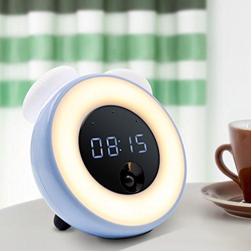 Alarm Clock LED night light for kids , GEREE Bedside Lamp for Kids Bedroom,PIR sensor,touchscreen Control, with Adjustable Brightness, USB Rechargeable (Blue)