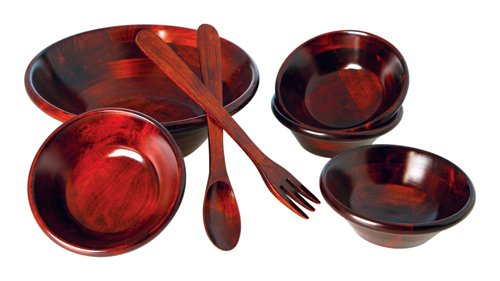 Mountain Woods 7 Piece Mahogany Salad Bowl - Piece 7 Wood