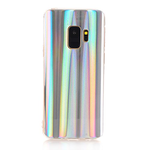 (Samsung Galaxy S9 Case, EASEU Holographic Phone Case, Laser Beam Sparkle Bling Reflective Rainbow Super Slim Silver Soft TPU Protective Cover Case for Samsung Galaxy S9)