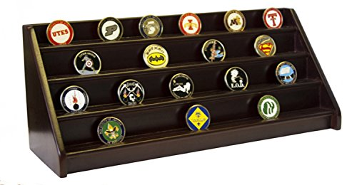 DECOMIL 4 Rows Shelf Poker Chips & Military Challenge Coin Display Rack Holder by DECOMIL