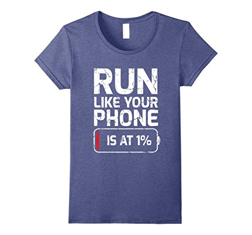 Running Pun Costumes (Womens Funny Run Like Your Phone is at 1% Tshirt - For Runners Small Heather Blue)