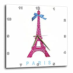 3dRose Hot Pink Eiffel Tower From Paris with Girly Blue Ribbon Bow - White Stylish Parisian France Souvenir - Wall Clock, 15 by 15-Inch (dpp_112907_3)