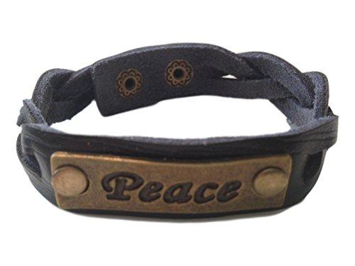 Charming 'Peace' Black Leather Expression Snap Bracelet - Jb Vintage Bracelets
