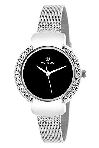 ALTEDO Altedo Eternal Series Analogue Women #39;s Watch  Black Dial Silver Colored Strap