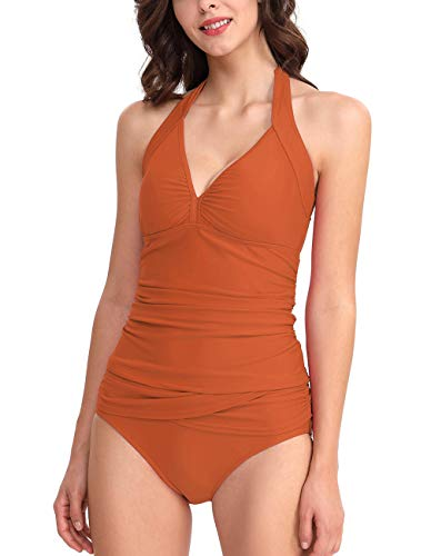 (Womens Tankini Sets Tummy Control V Neck Two Piece Separate Halter Swim Tops Tangerine)