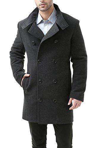 BGSD Men's 'Lawrence' Wool Blend City Coat - Dark Gray L