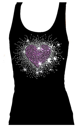 Pink Heart Burst Angel Wings Rhinestone Bling Womens Tank Top Tee Shirt (XL)