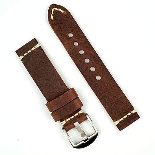 B & R Bands 20mm Russet Italian Vintage Leather Watch Band Strap - Small Length (Leather Strap Russet)