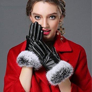 J.Market Womens Windproof and Waterproof Warm GlovesTouchscreen Texting rabbit Fur Wrist Winter PU Leather Gloves Driving Lining Gloves