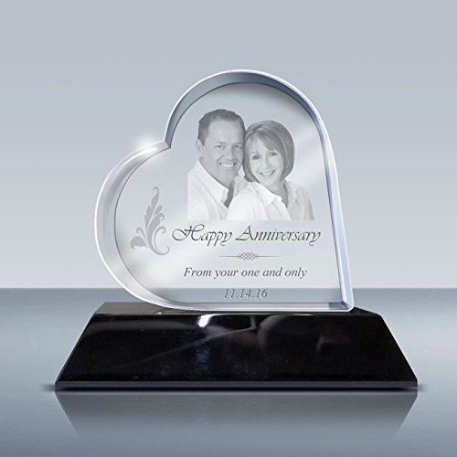 - 3D Crystal Heart - Custom Laser Etching Photo Crystal, Engraved Picture in Glass Gift, GACB0017 Gift Set with LED Lighted Base, Made by Goodcount