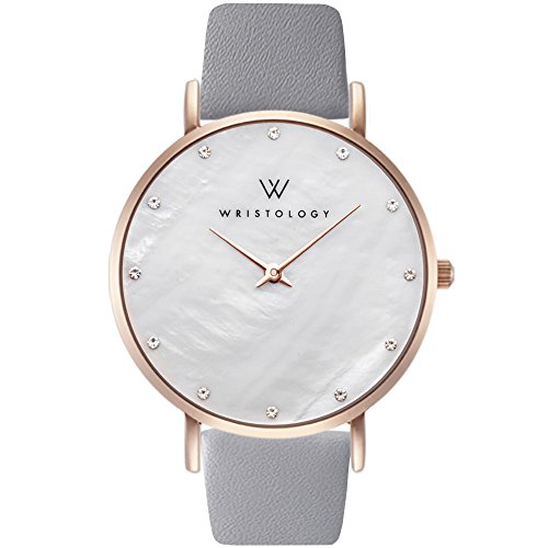 WRISTOLOGY Stella Womens Mother of Pearl Rose Gold Boyfriend Watch Grey Leather Changeable Strap Band (Gold Pearl Watch)