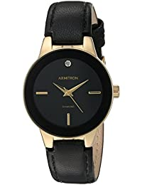 Women's 75/5410BKGPBK Diamond-Accented Gold-Tone and Black Leather Strap Watch