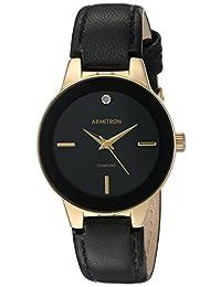 Armitron 75/5410BKGPBK Women's Dress Watch, Diamond Accented Leather Strap Watch, Negro/Dorado