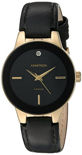 (Armitron Women's 75/5410BKGPBK Diamond-Accented Gold-Tone and Black Leather Strap Watch)