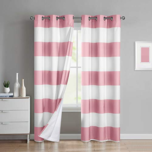Sunclipse Sydney 2-Pack Room Darkening Grommetted Window Panel Pair (Stripe Curtain Pink)