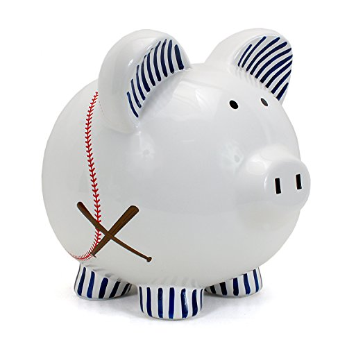 (Child to Cherish Ceramic Piggy Bank for Boys, Baseball)