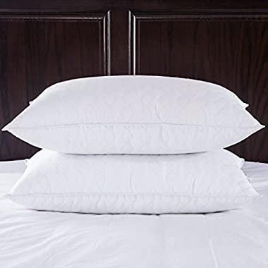 Puredown Quilted White Goose Feather and Down Pillow, Standard/Queen Size, White, Set of 2