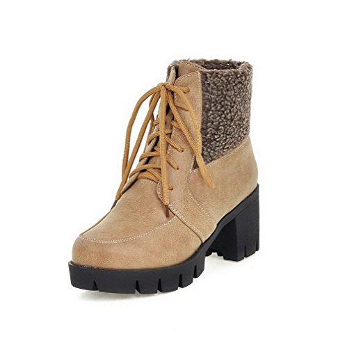 Allhqfashion Women's Round Closed Toe Low-Top High-Heels Solid Blend Materials Boots Yellow QpKU1XoyD