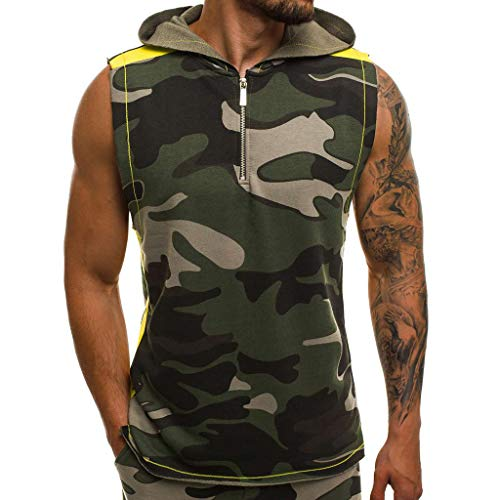Sunmoot Fourth of July Men's Hip Hop Camouflage Vest Jacket Lightweight Patchwork Sleeveless Contrast Hoodie]()