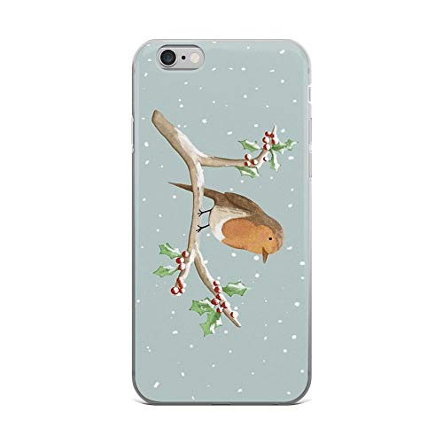 (iPhone 6 Plus/iPhone 6s Plus Case Clear Anti-Scratch Robin on Branch, Robin Cover Phone Cases for iPhone 6 Plus iPhone 6s Plus)
