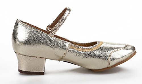 Honeystore Classic Womens Cow Leather Salsa Latin Dance Shoes Mary Jane Gold ayJ1XnL