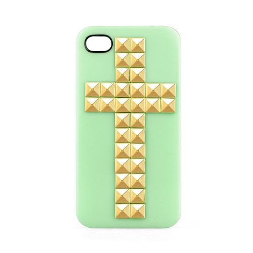 SODIAL(R) Nieten Pyramid Cover Studded Gold Kreuz H¨¹lle Schutzh¨¹lle f¨¹r iPhone 4/4s gr¨¹n