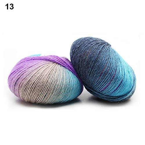 WillowswayW Long Rainbow Gradient Color Hats Scarf Beanie Crochet Yarns Knitting -
