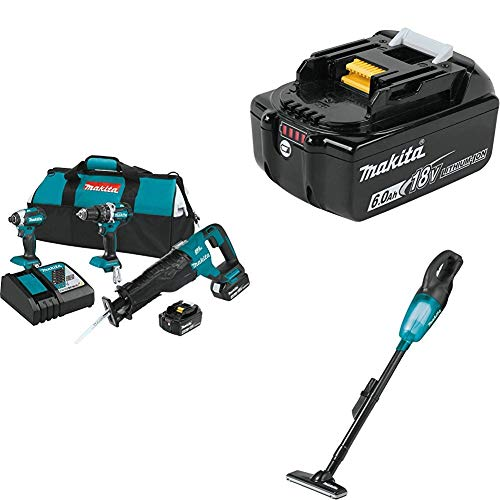Makita XT328M 4.0 Ah 18V LXT Lithium-Ion Brushless Cordless Combo Kit, 3 Piece w/ Makita BL1860B 18V 6.0 Ah Battery & Makita XLC02ZB 18V LXT Lithium-ion Cordless Vacuum, Tool Only