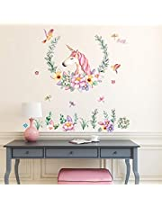 Unicorn Sticker Theme Children's Room Party Decoration Background Wall Self-adhesive Wall Stickers Kindergarten Kids Living Room Bedroom Girls Room Wall Decals
